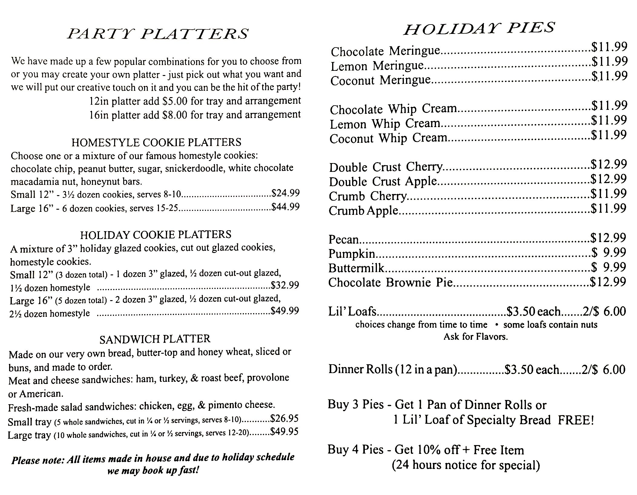 Holiday Menu 2
